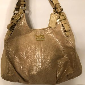 Coach Madison Gold Metallic Leather Maggie Bag